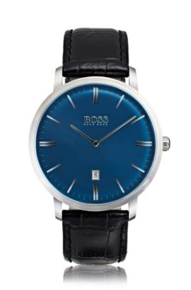 Stainless-steel watch with sunray blue dial and leather strap, Assorted-Pre-Pack