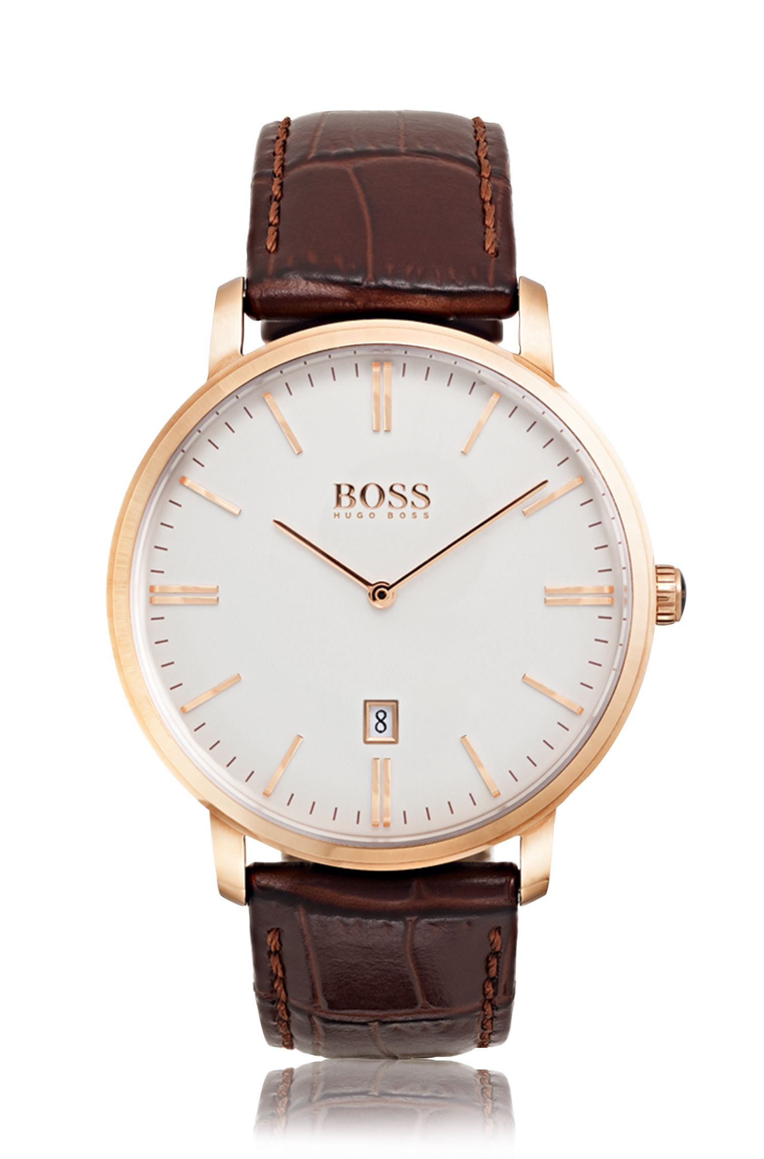 Rose-gold-plated two-hand watch with leather strap