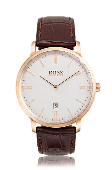 Rosévergoldete Uhr mit zwei Zeigern und Lederarmband, Assorted-Pre-Pack