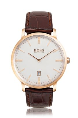 Rose-gold-plated two-hand watch with leather strap, Assorted-Pre-Pack