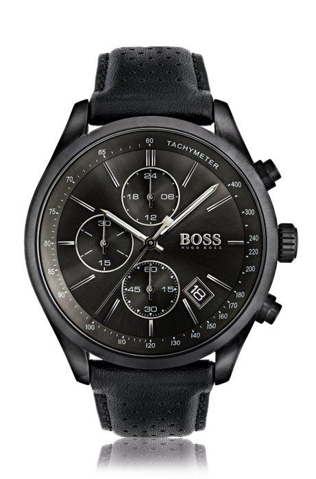 f44326878413 Reloj deportivo en acero inoxidable ennegrecido con esfera negra y correa  de piel calada