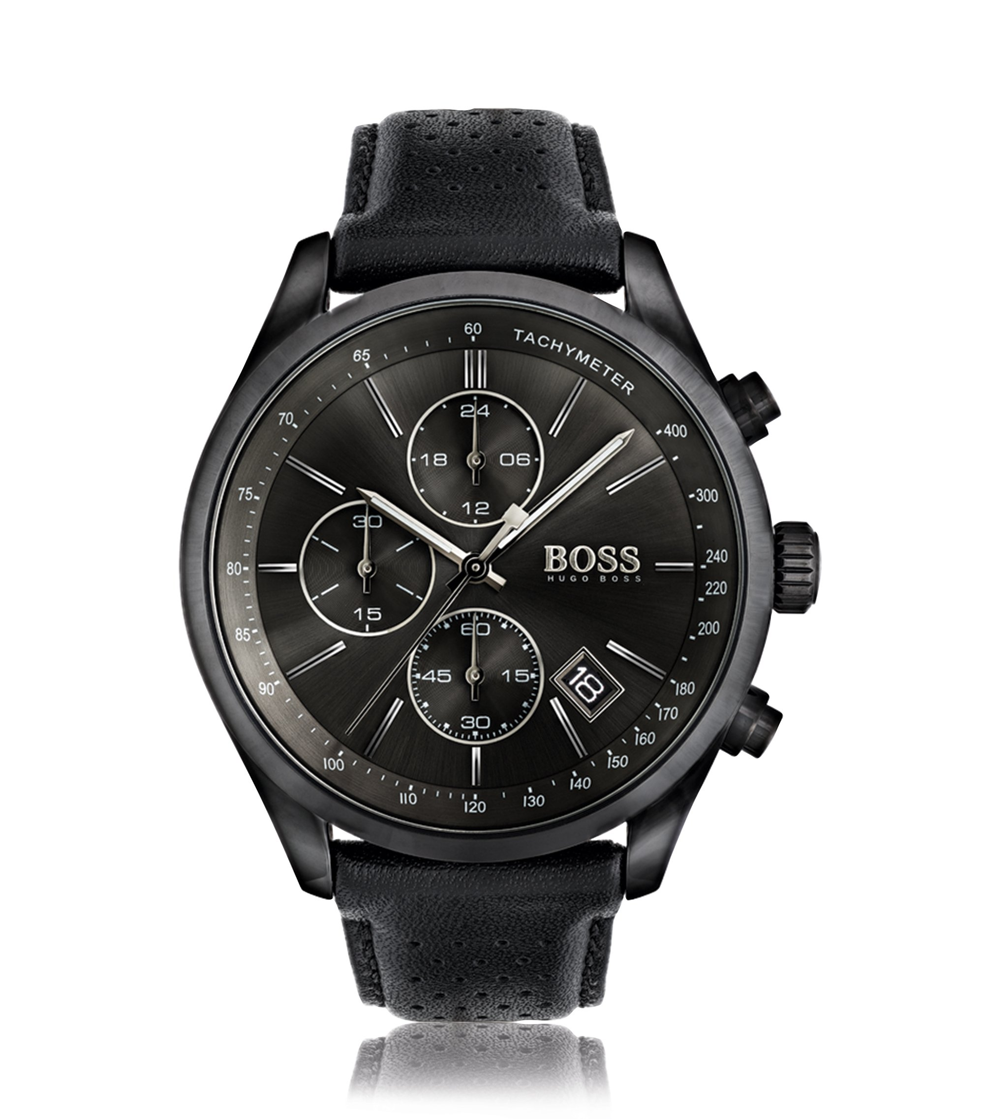 Blackened stainless steel sportswatch with black dial and perforated leather strap, Black