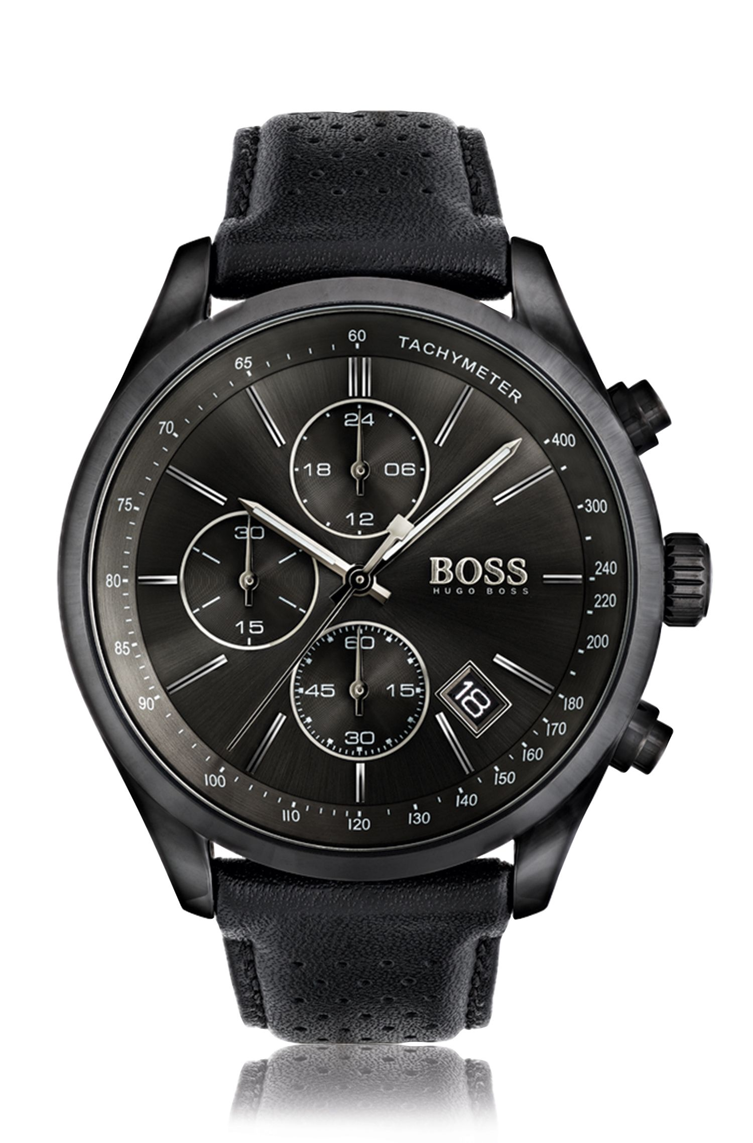 Blackened stainless steel sportswatch with black dial and perforated leather strap