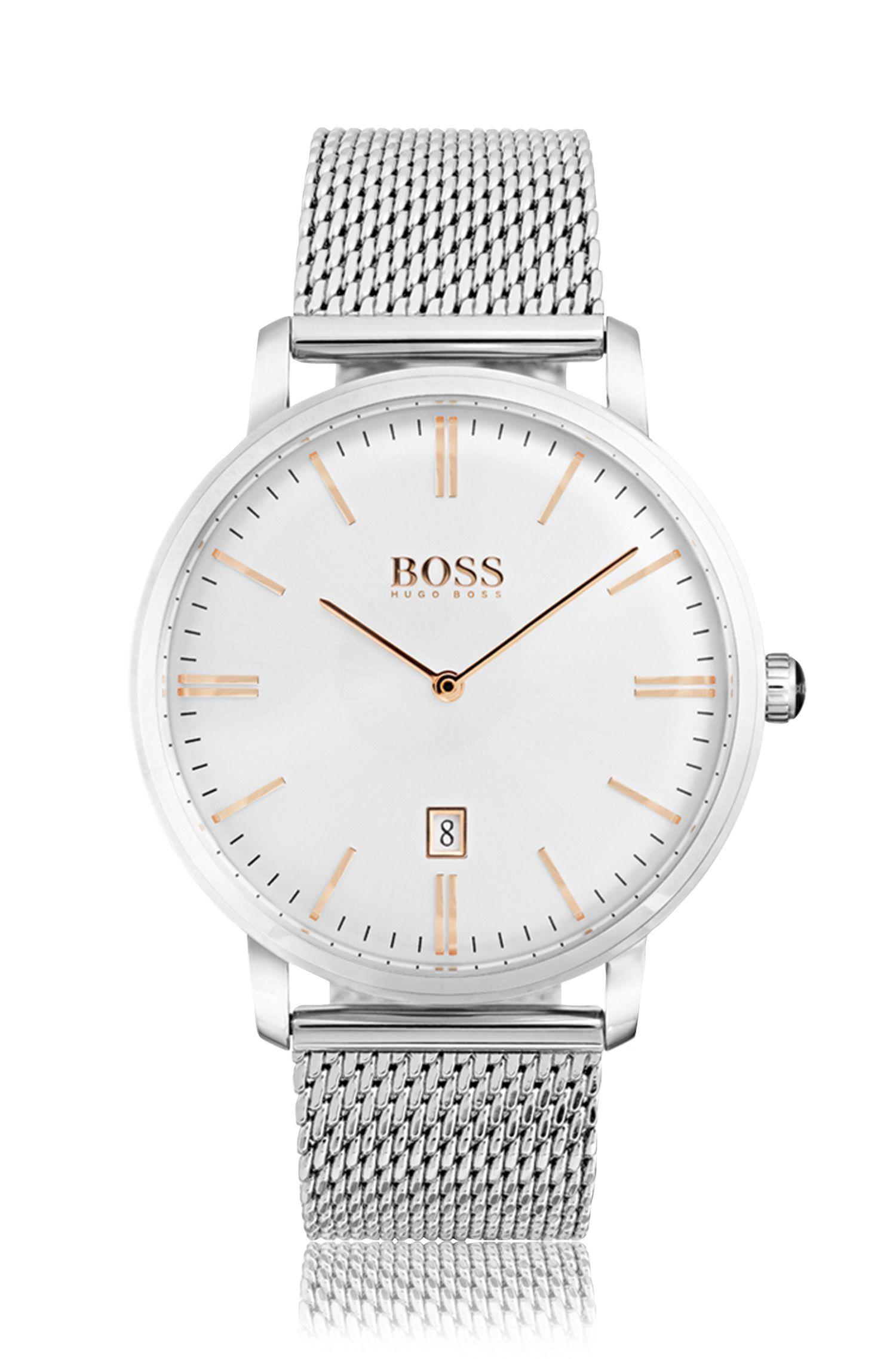 Horloge van roestvrij staal met witte wijzerplaat en polsband in mesh
