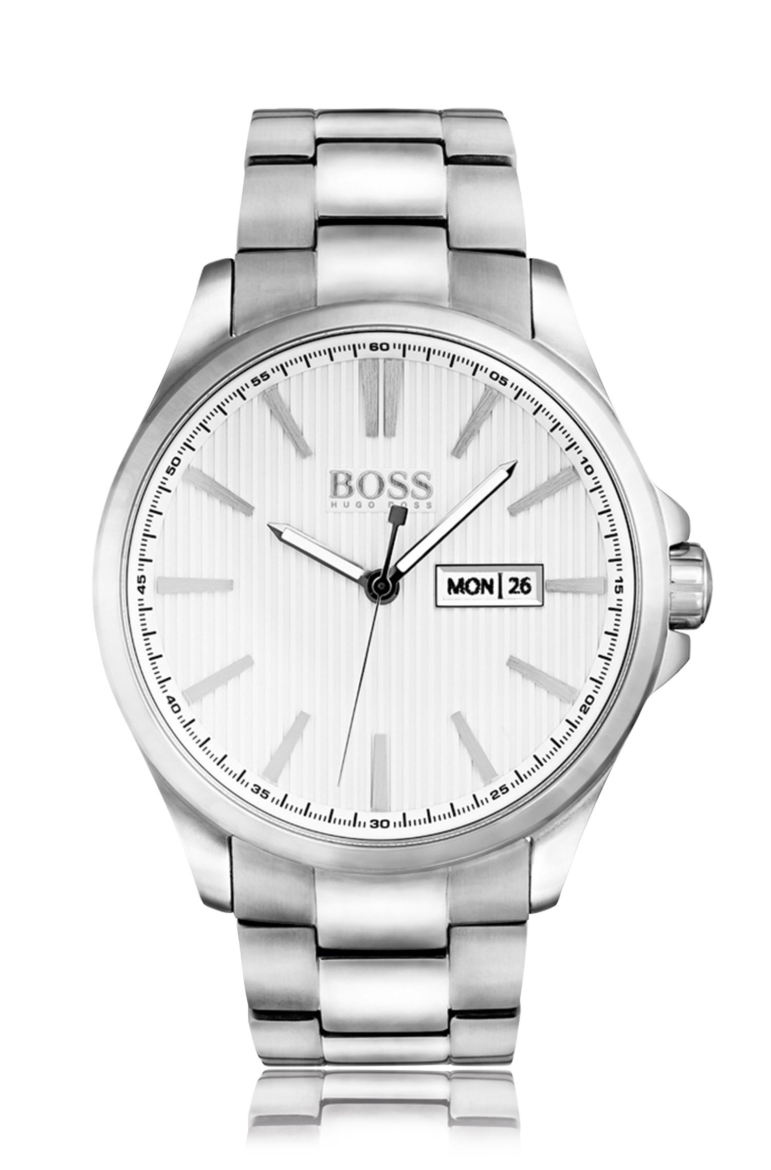 Polished stainless-steel three-hand watch with white striped dial