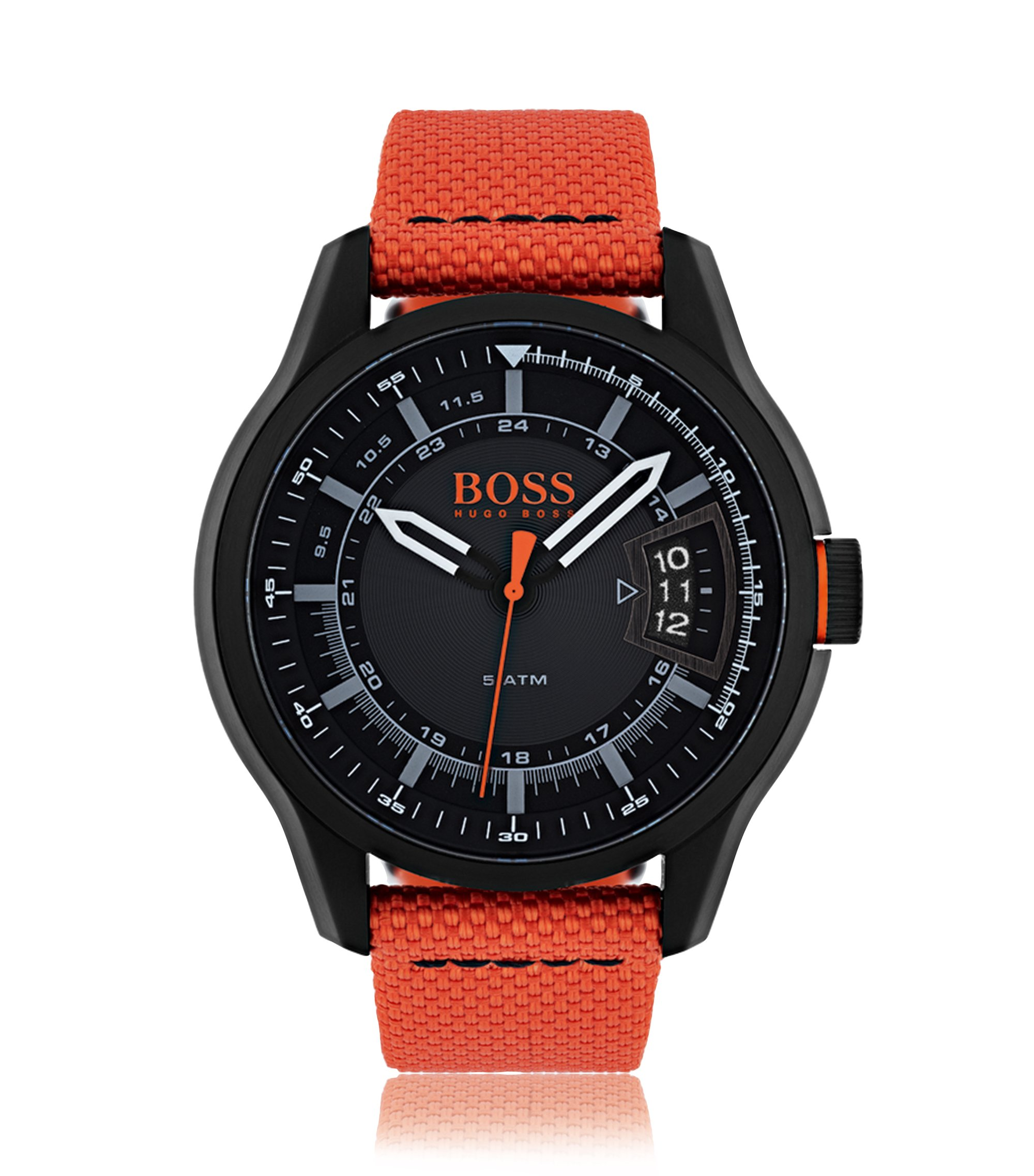 Montre à trois aiguilles en acier inoxydable noirci, avec bracelet en tissu orange, Assorted-Pre-Pack