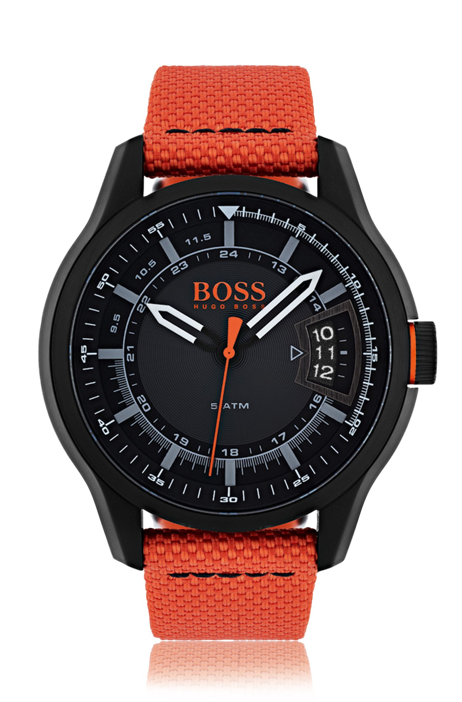 Blackened stainless-steel three-hand watch with orange fabric strap