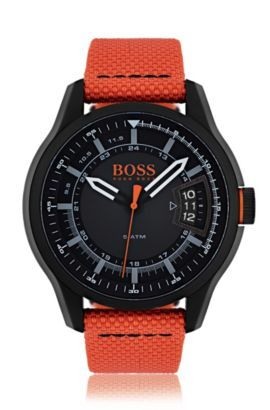 Blackened stainless-steel three-hand watch with orange fabric strap, Assorted-Pre-Pack