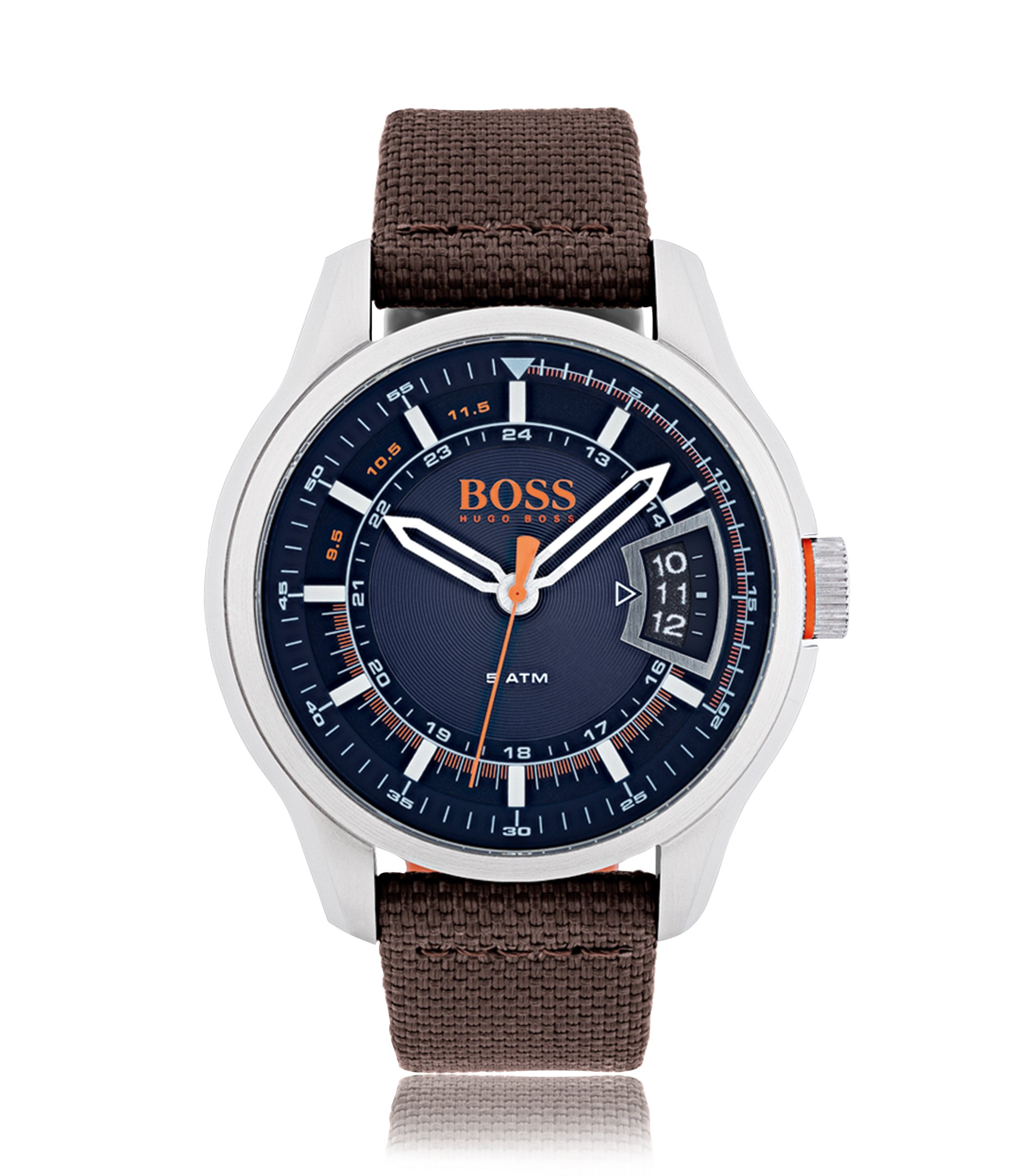 Orologio in acciaio inox spazzolato con quadrante blu e cinturino in tessuto marrone, Assorted-Pre-Pack