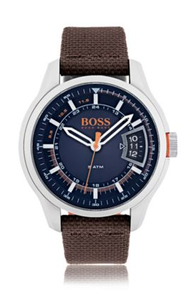 Reloj de acero inoxidable cepillado con esfera azul y pulsera de tela marrón, Assorted-Pre-Pack