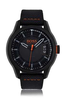 Blackened stainless-steel three-hand watch with black dial and fabric strap, Assorted-Pre-Pack