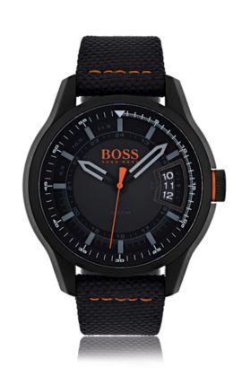 Montre à trois aiguilles en acier inoxydable noirci à cadran noir et bracelet en tissu, Assorted-Pre-Pack