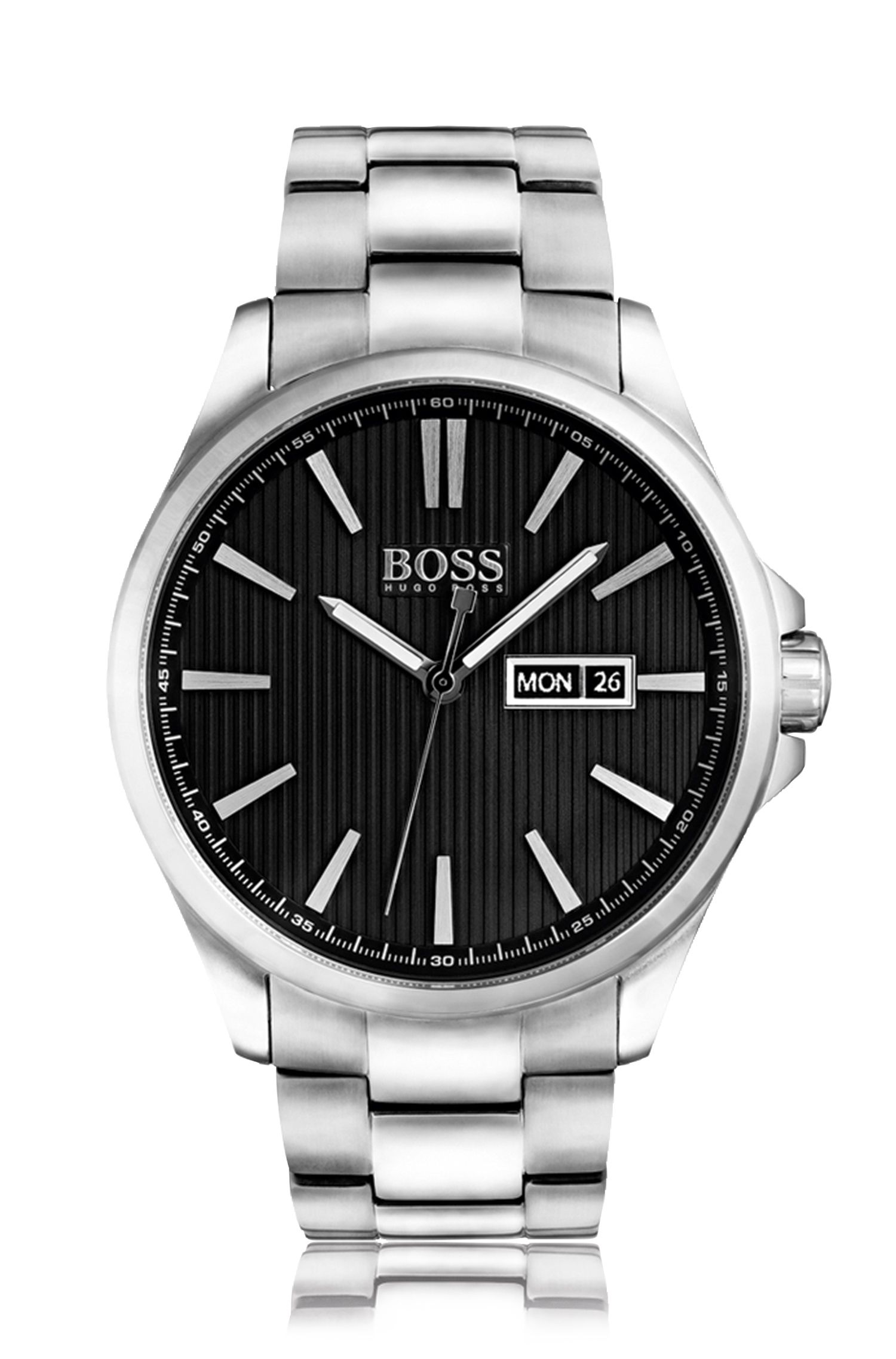 Polished stainless-steel three-hand watch with black striped dial