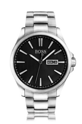 Polished stainless-steel three-hand watch with black striped dial, Assorted-Pre-Pack