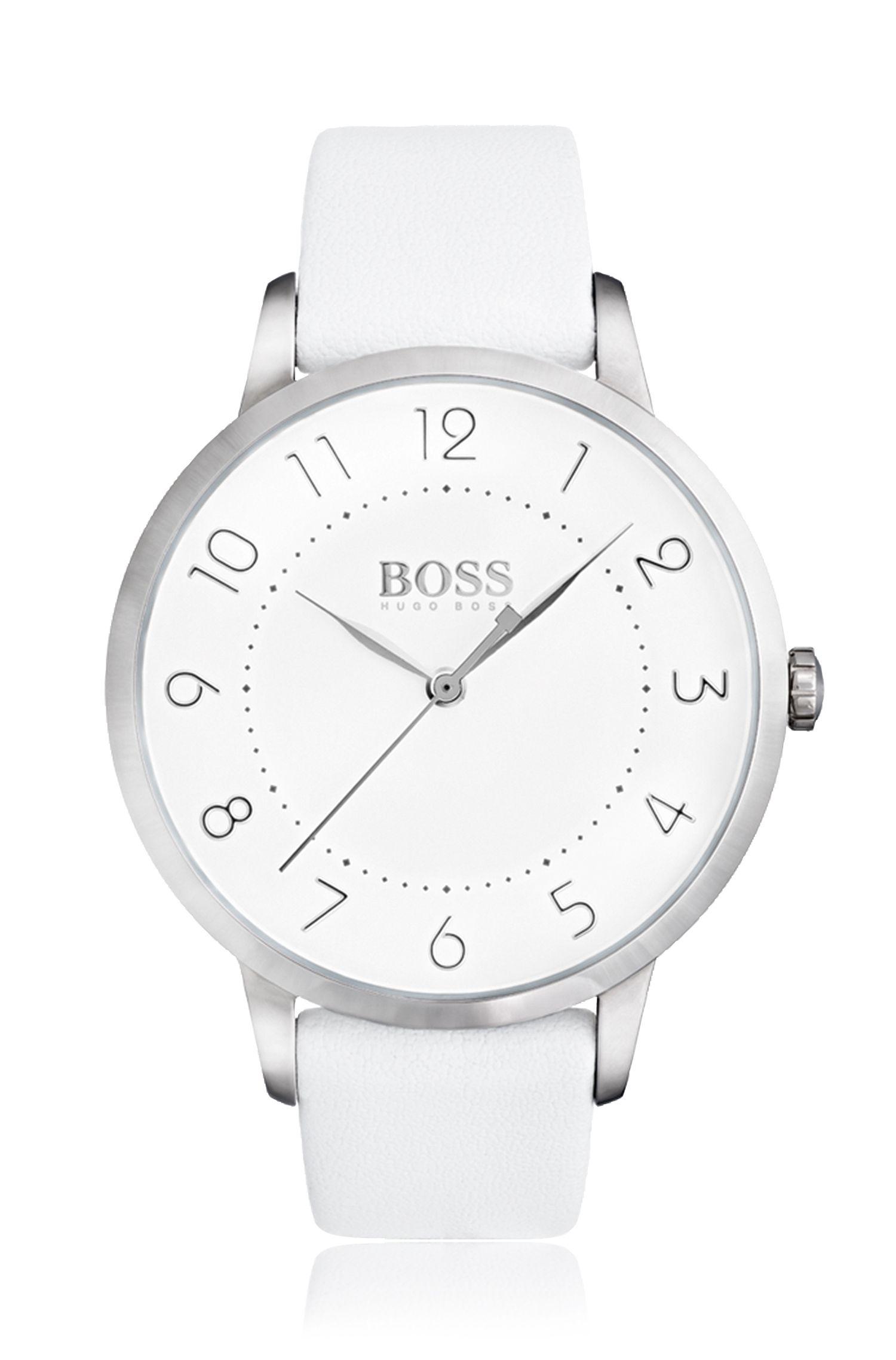 Uhr aus poliertem Edelstahl mit drei Zeigern