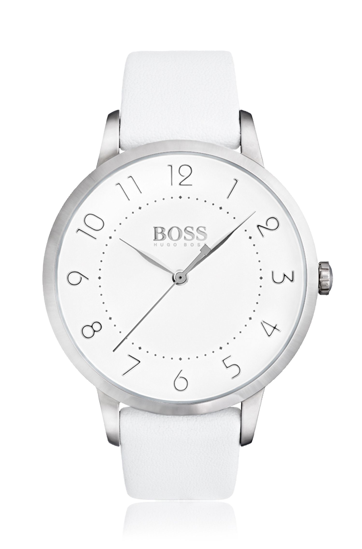 Three-hand watch in polished stainless steel