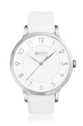 Three-hand watch in polished stainless steel, White