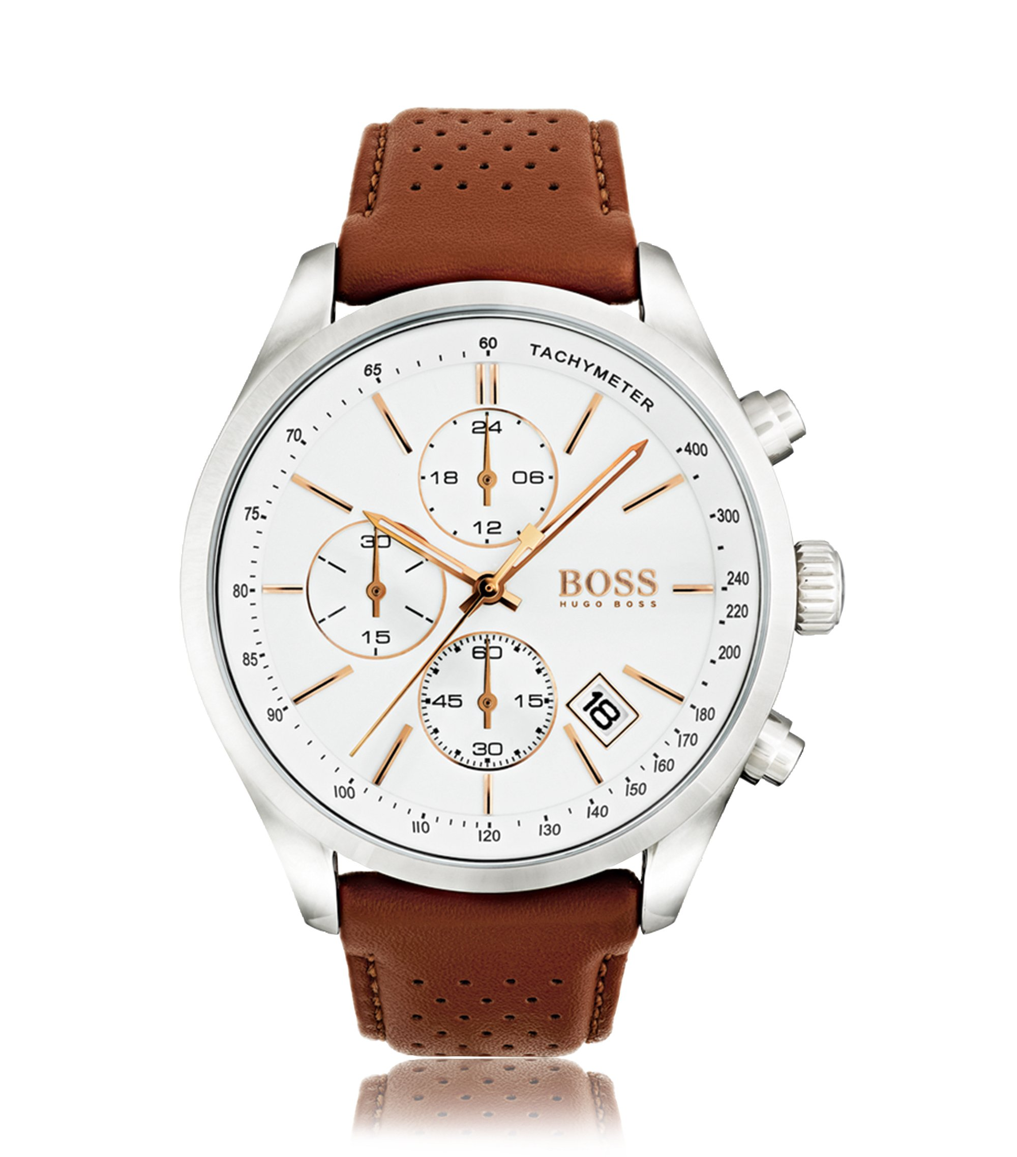 Polished stainless-steel sportswatch with white dial and perforated leather strap, Brown