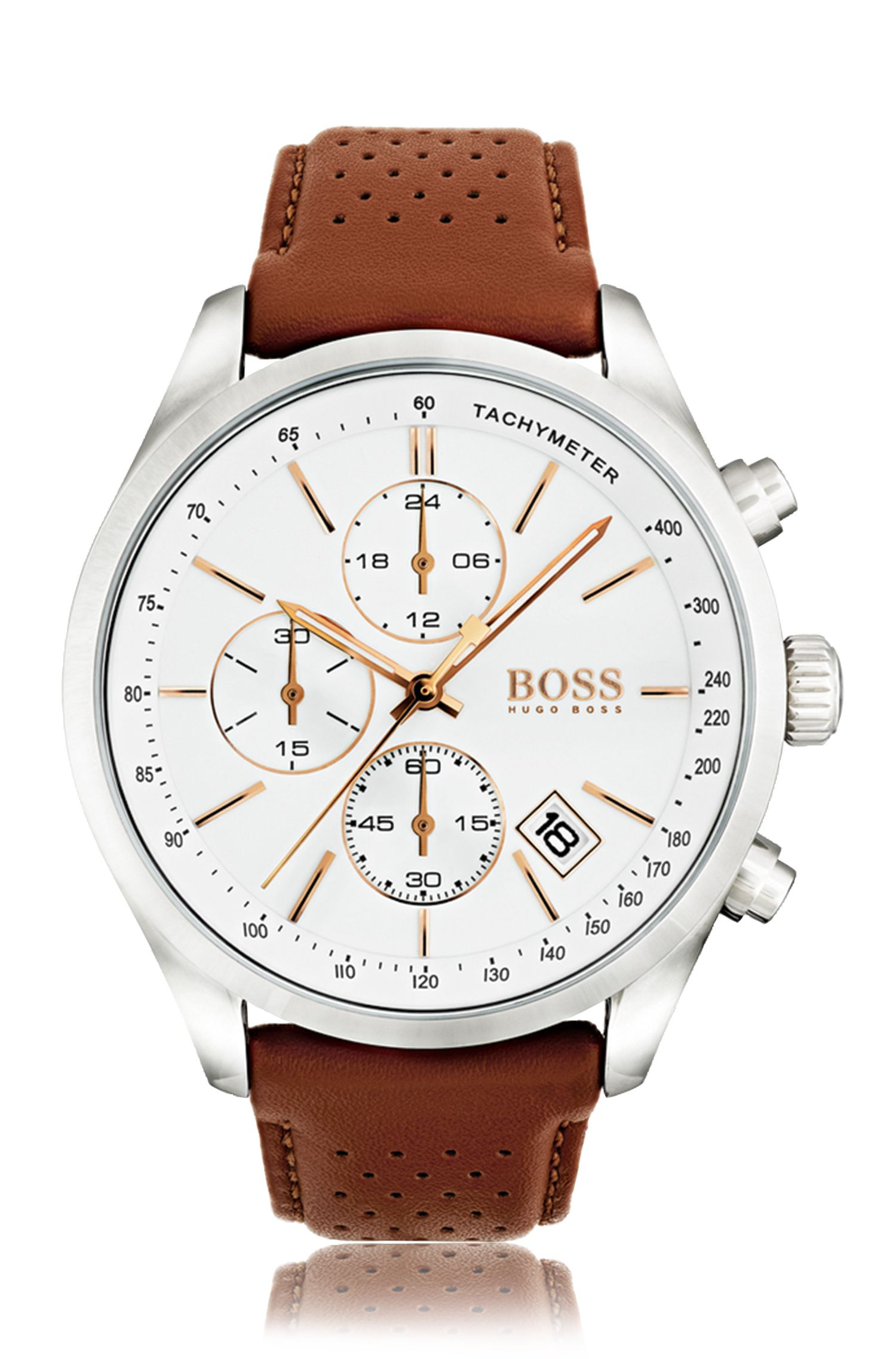 Polished stainless-steel sportswatch with white dial and perforated leather strap