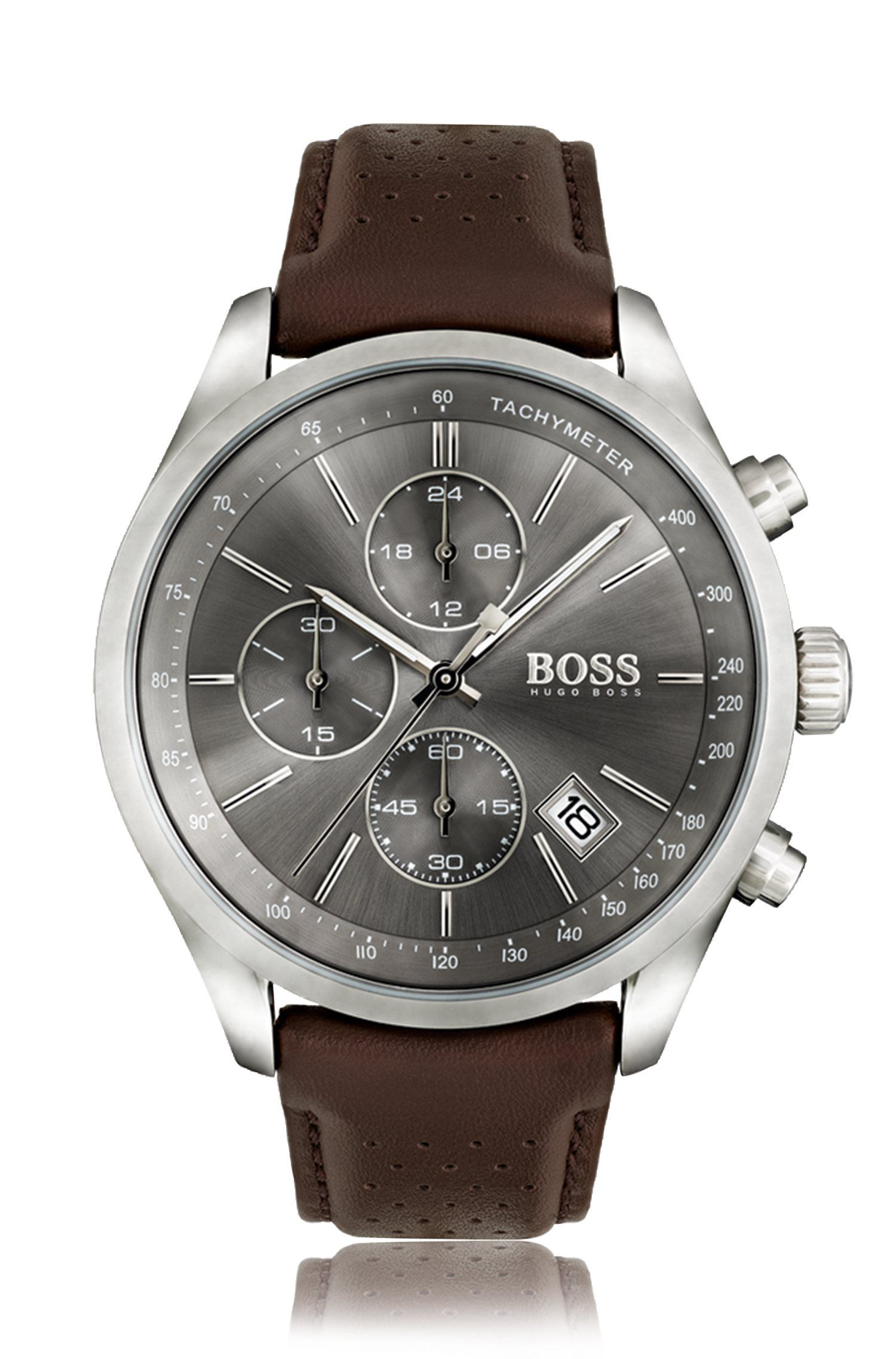 Stainless-steel sportswatch with grey sunray dial and perforated leather strap, Dark Brown