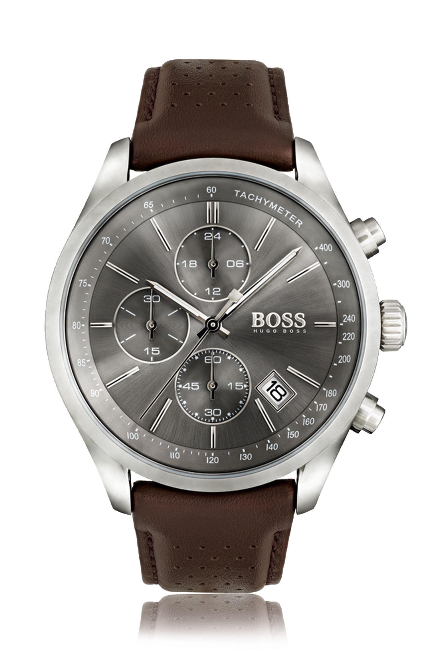 Cronografo in acciaio inox con quadrante grigio con finitura soleil e cinturino in pelle traforata