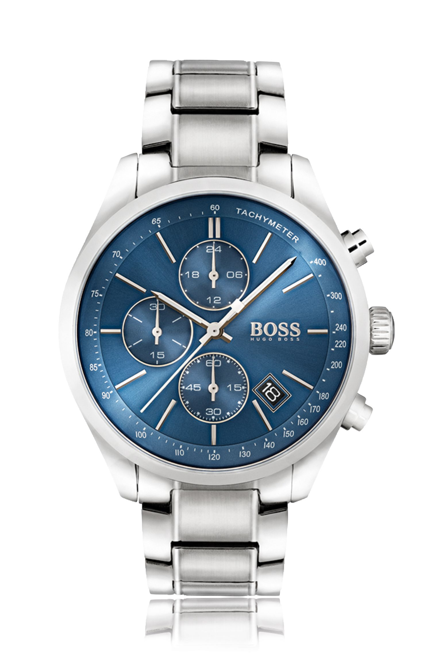 Polished stainless-steel sportswatch with blue sunray dial and link strap