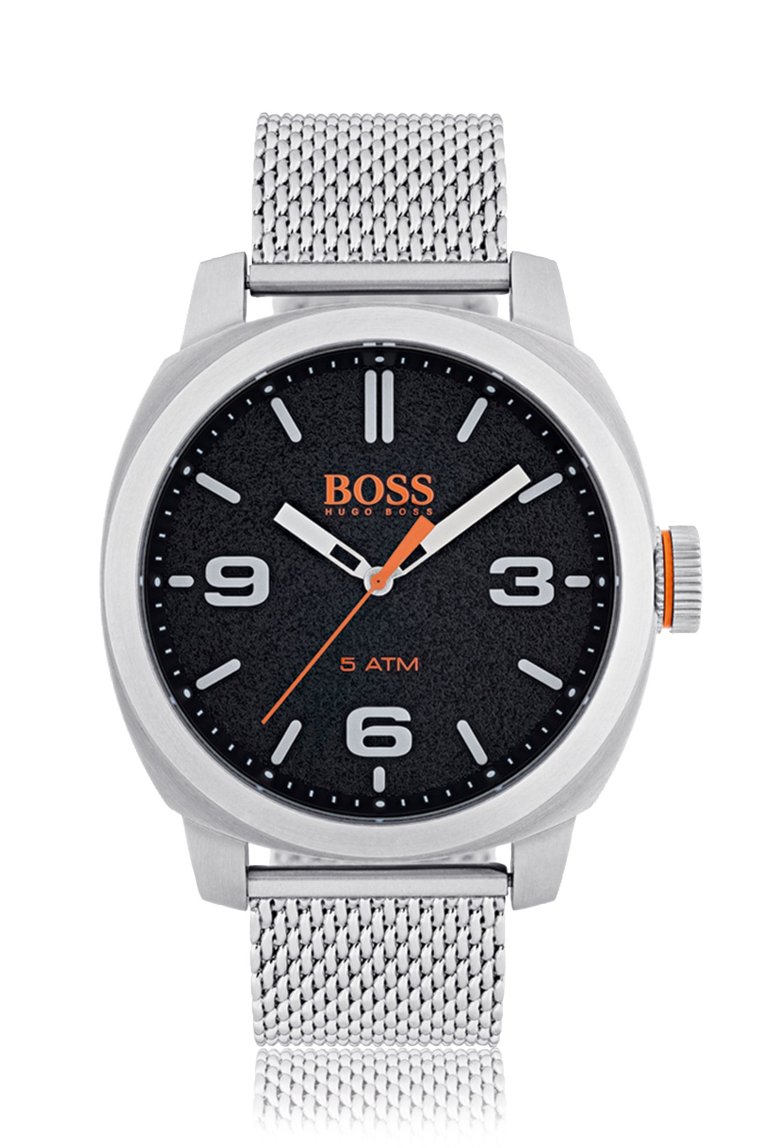 Brushed stainless-steel watch with black dial and mesh bracelet