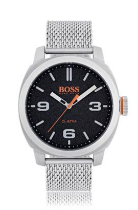 Reloj de acero inoxidable cepillado con esfera negra y pulsera de malla, Assorted-Pre-Pack