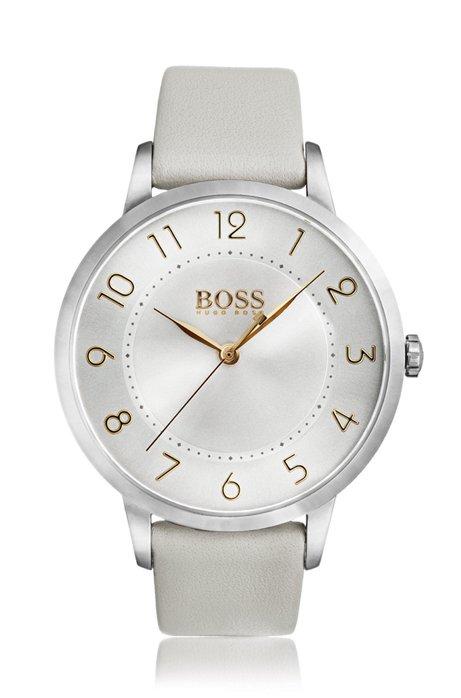 Armbanduhr aus poliertem Edelstahl mit drei Zeigern, Hellgrau