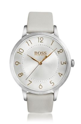 Three-hand watch in polished stainless steel, Light Grey