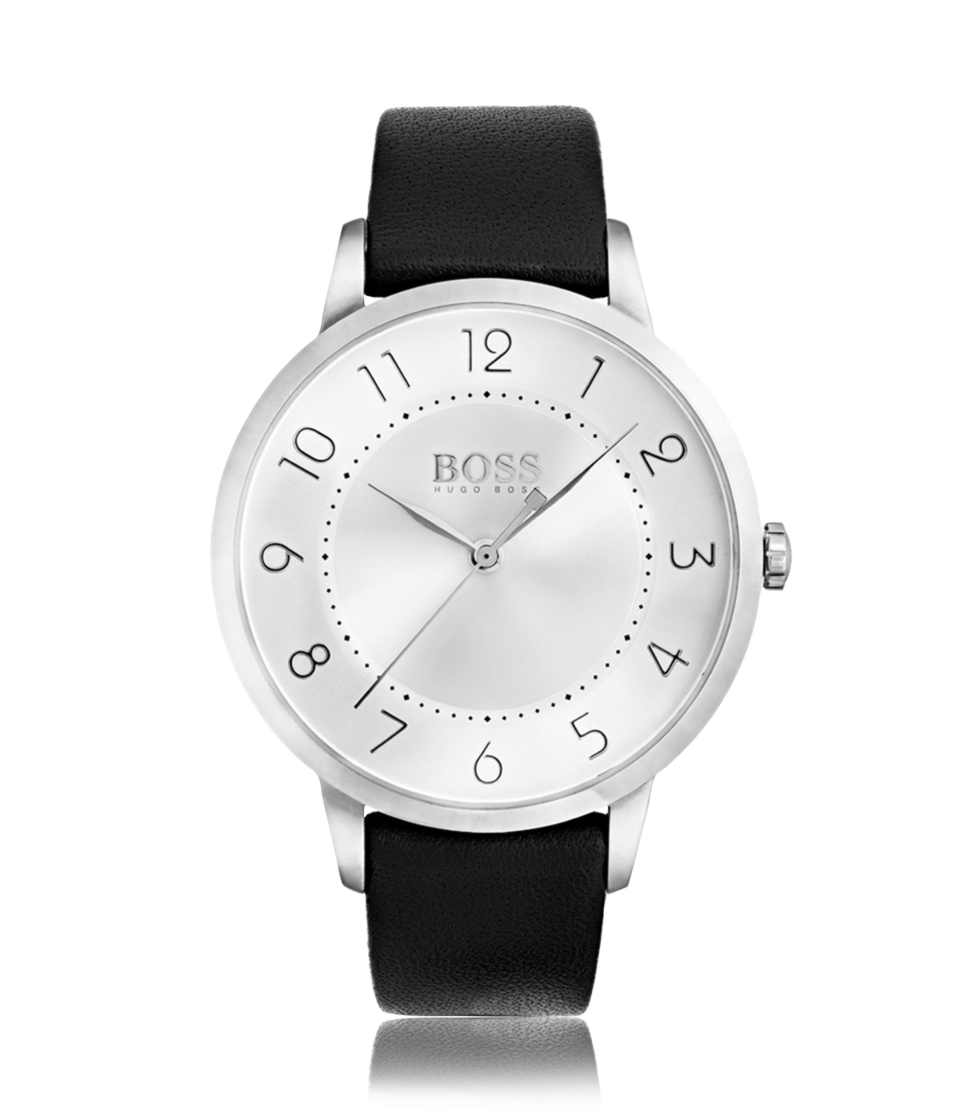 Three-hand watch in polished stainless steel, Grey