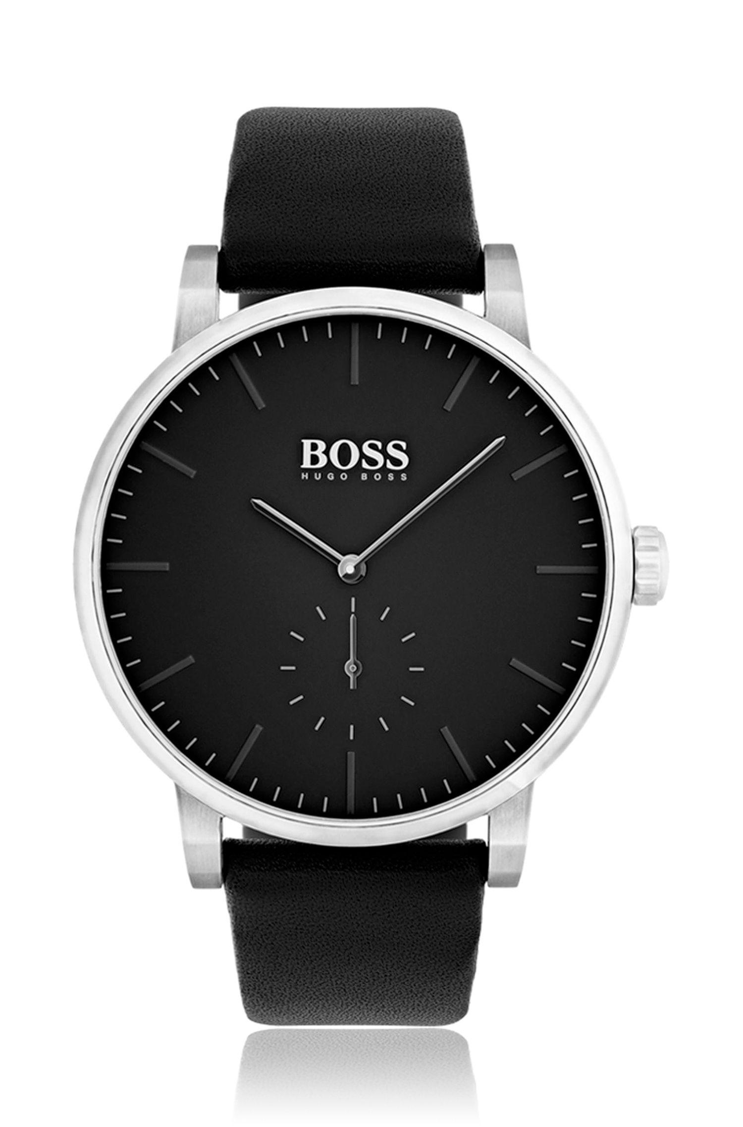 Puristische Uhr aus Edelstahl mit mattem Zifferblatt und Lederarmband, Schwarz