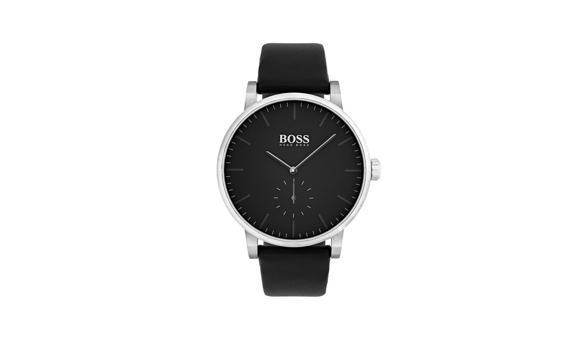 Minimalist stainless-steel watch with matt black dial and leather strap, Black