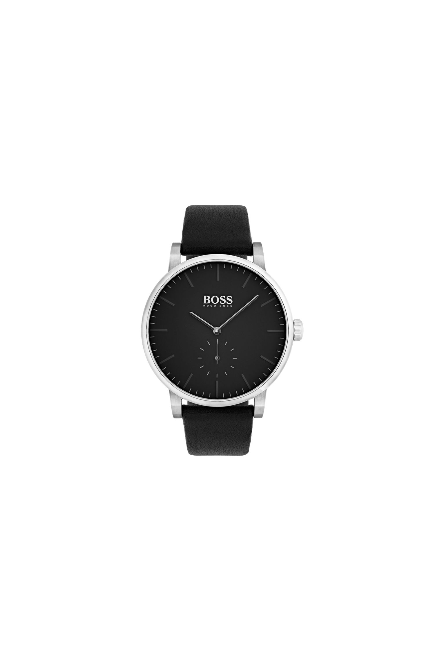 Minimalist stainless-steel watch with matt black dial and leather strap