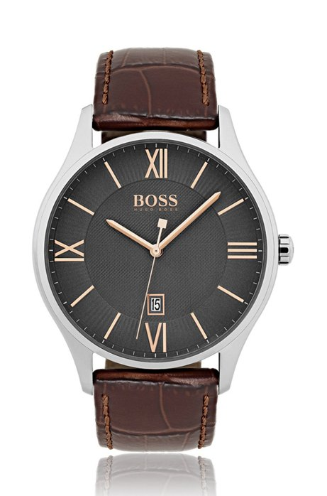 Polished stainless-steel watch with grey two-level dial and embossed leather strap, Dark Brown
