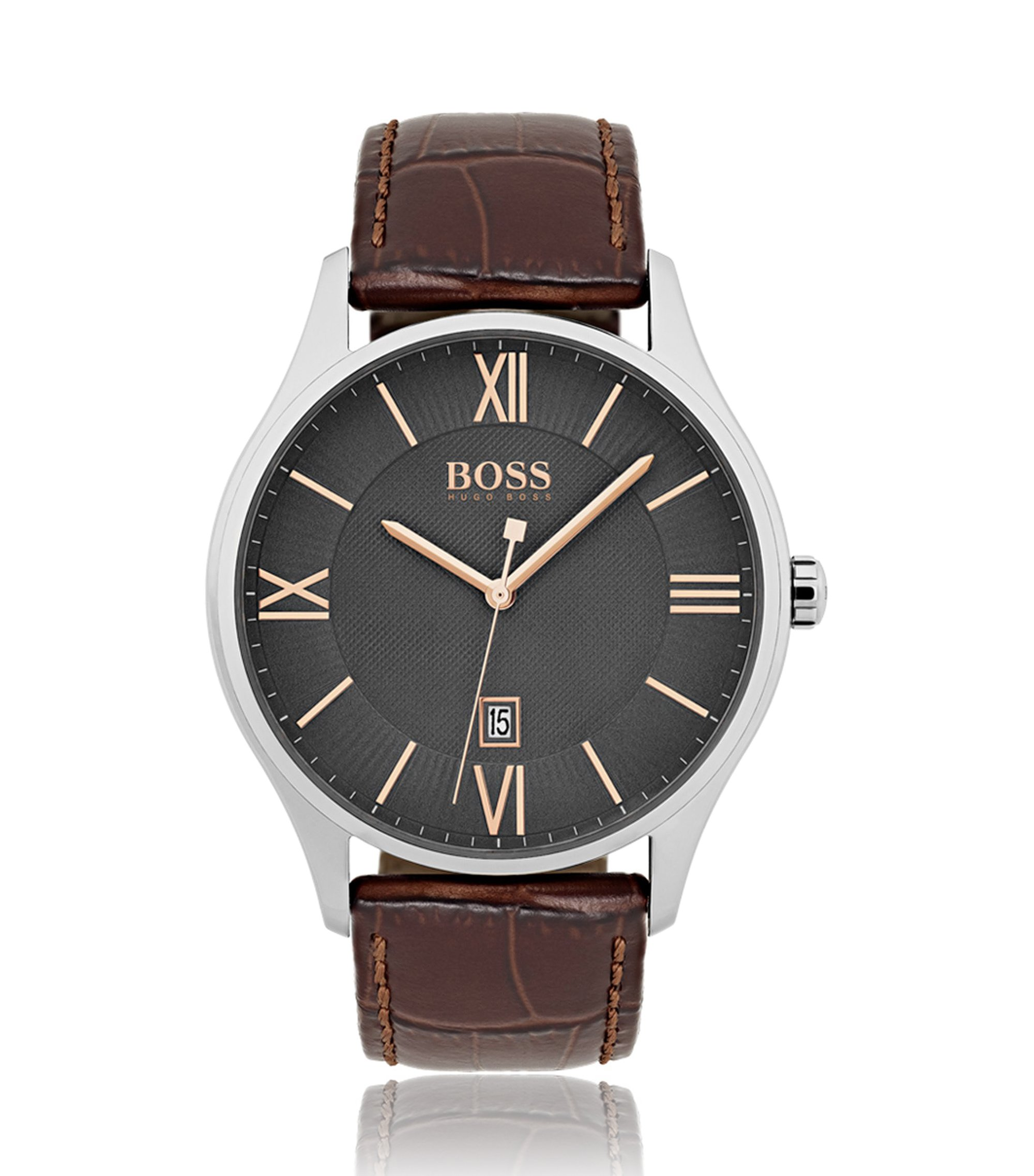 Polished stainless-steel watch with grey two-level dial and embossed leather strap, Assorted-Pre-Pack