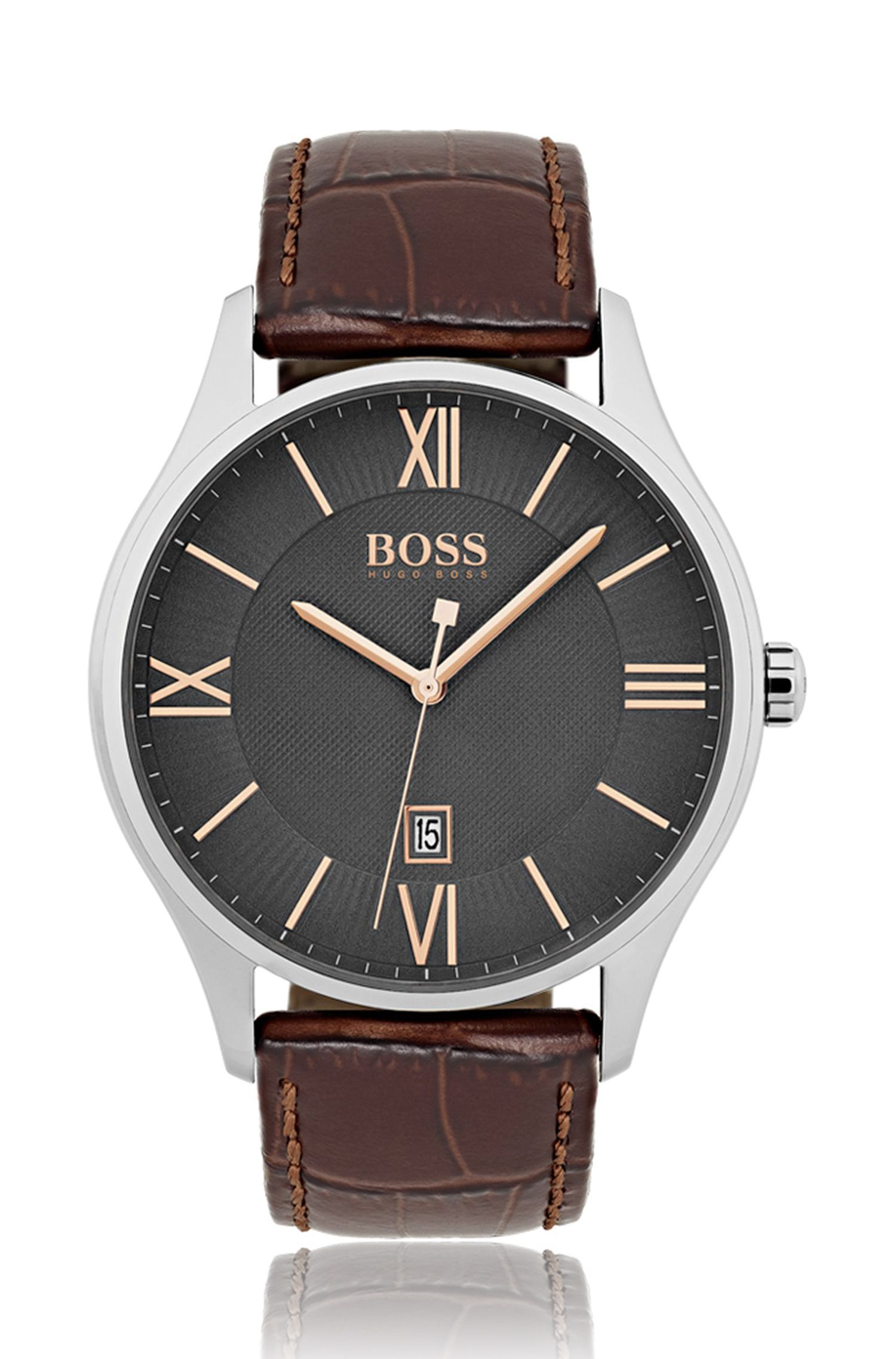 Polished stainless-steel watch with grey two-level dial and embossed leather strap