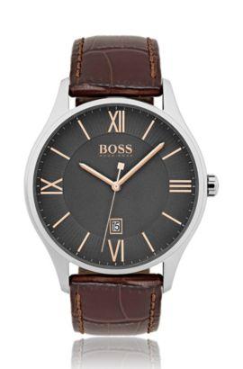 Montre en acier inoxydable poli à cadran gris à deux niveaux et bracelet en cuir embossé, Assorted-Pre-Pack