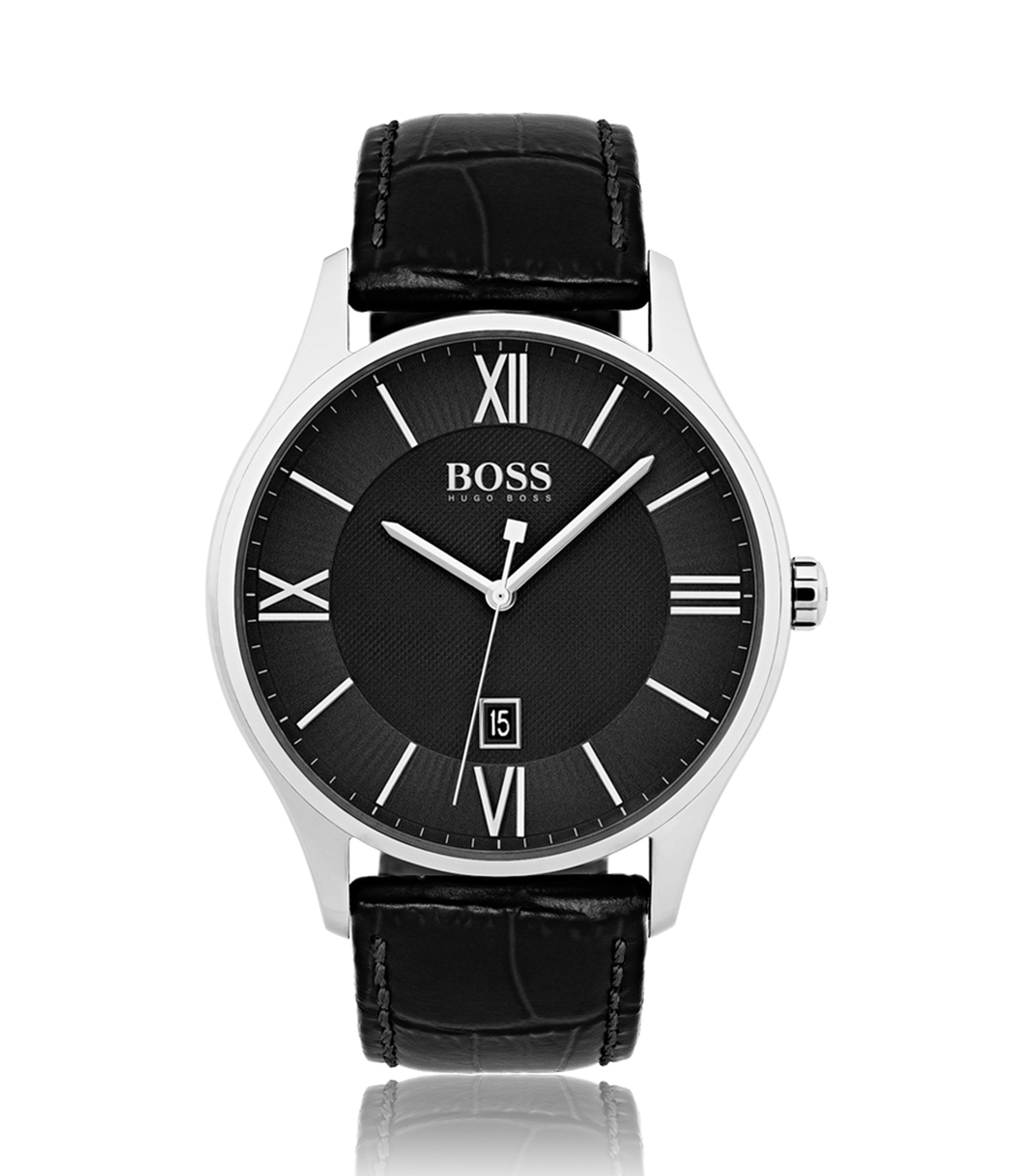 Three-hand watch with two-tier black dial and embossed leather strap, Assorted-Pre-Pack