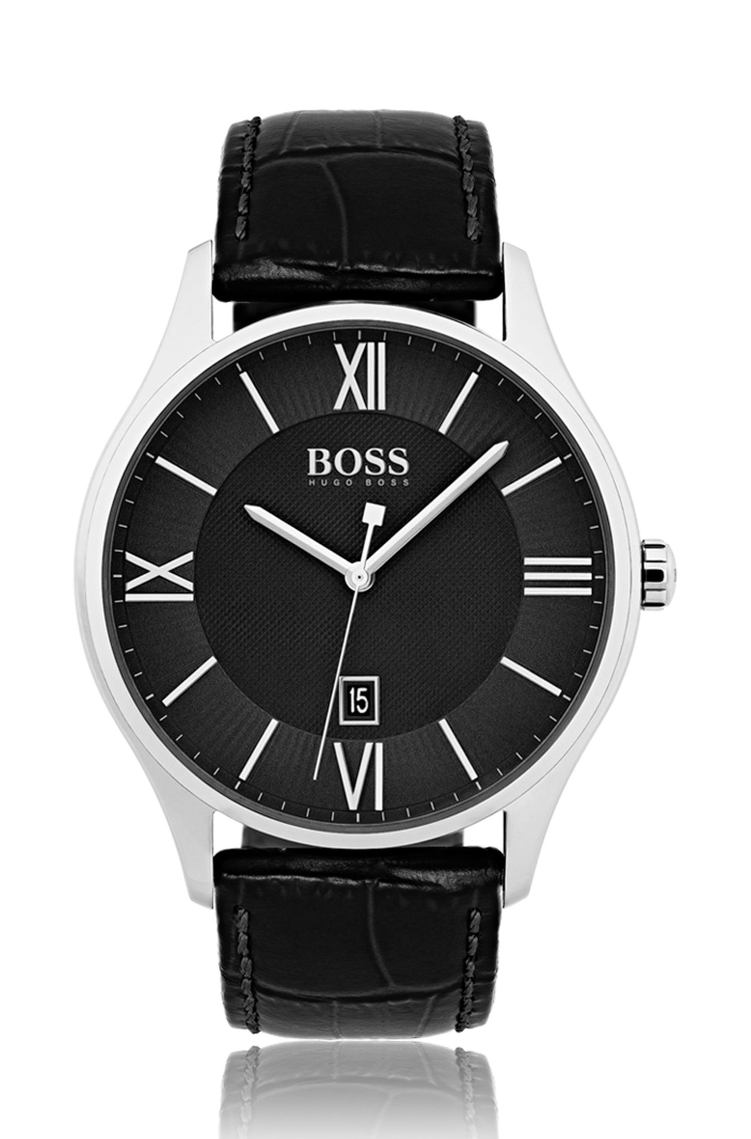 Three-hand watch with two-tier black dial and embossed leather strap