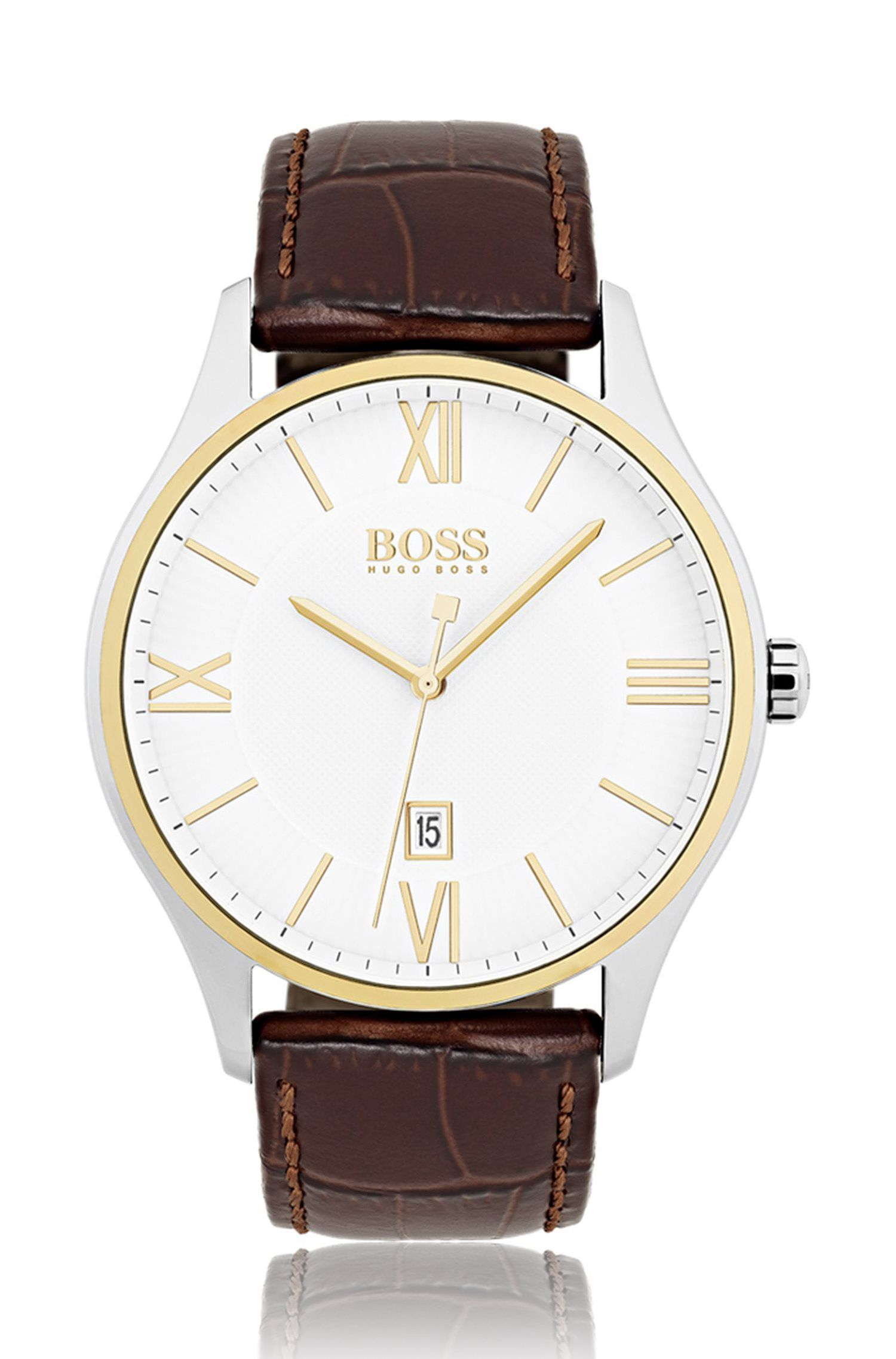 Three-hand watch with two-level dial and leather strap, Dark Brown