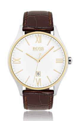 Uhr aus Edelstahl mit drei Zeigern, zweistufigem Zifferblatt und Lederarmband, Assorted-Pre-Pack