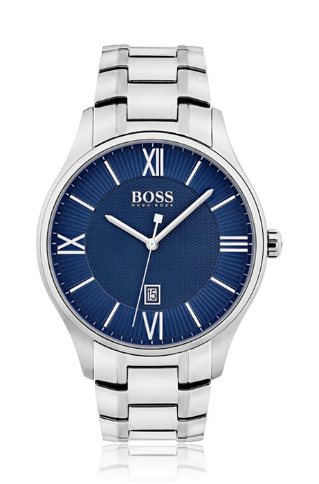Three-hand watch with blue dial and stainless-steel bracelet, Silver