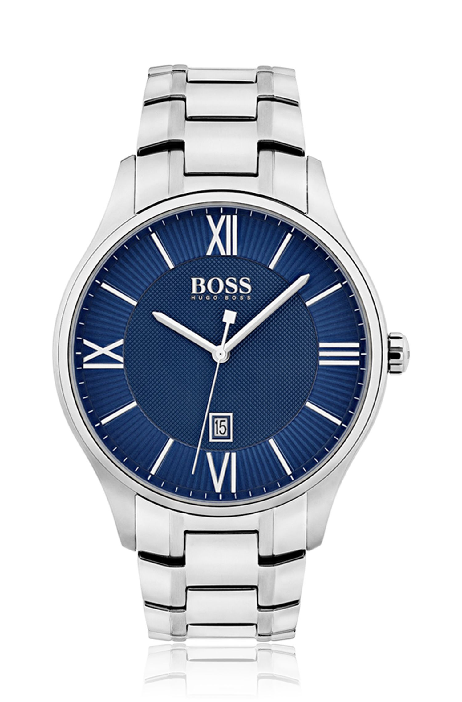 Three-hand watch with blue dial and stainless-steel bracelet
