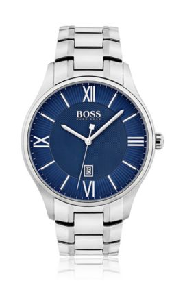 Three-hand watch with blue dial and stainless-steel bracelet, Assorted-Pre-Pack