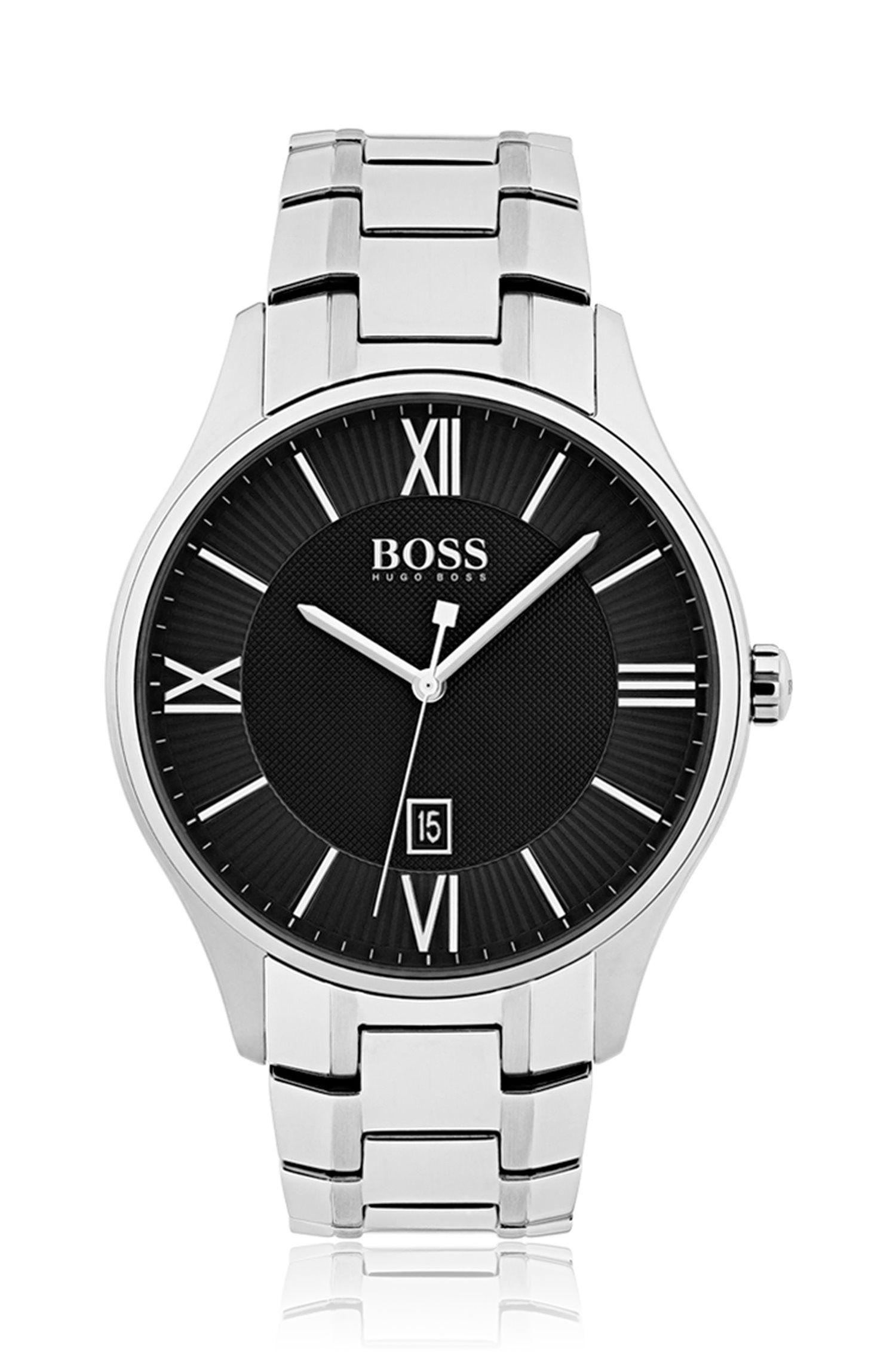 Horloge van gepolijst roestvrij staal met zwarte wijzerplaat met twee niveaus en geschakelde polsband, Zilver