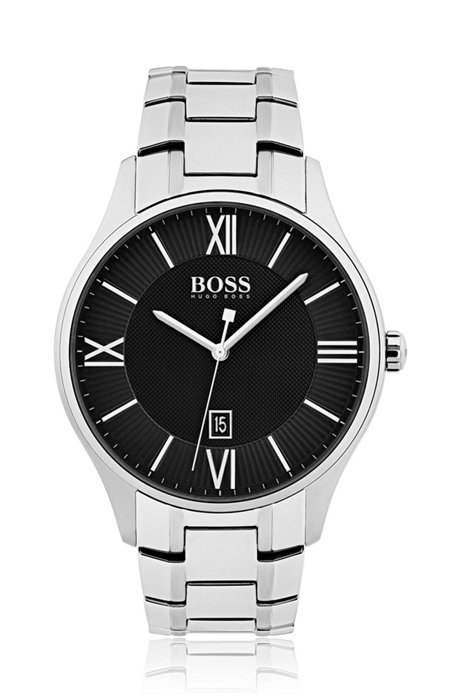 Polished stainless-steel watch with two-tier black dial and link bracelet, Silver