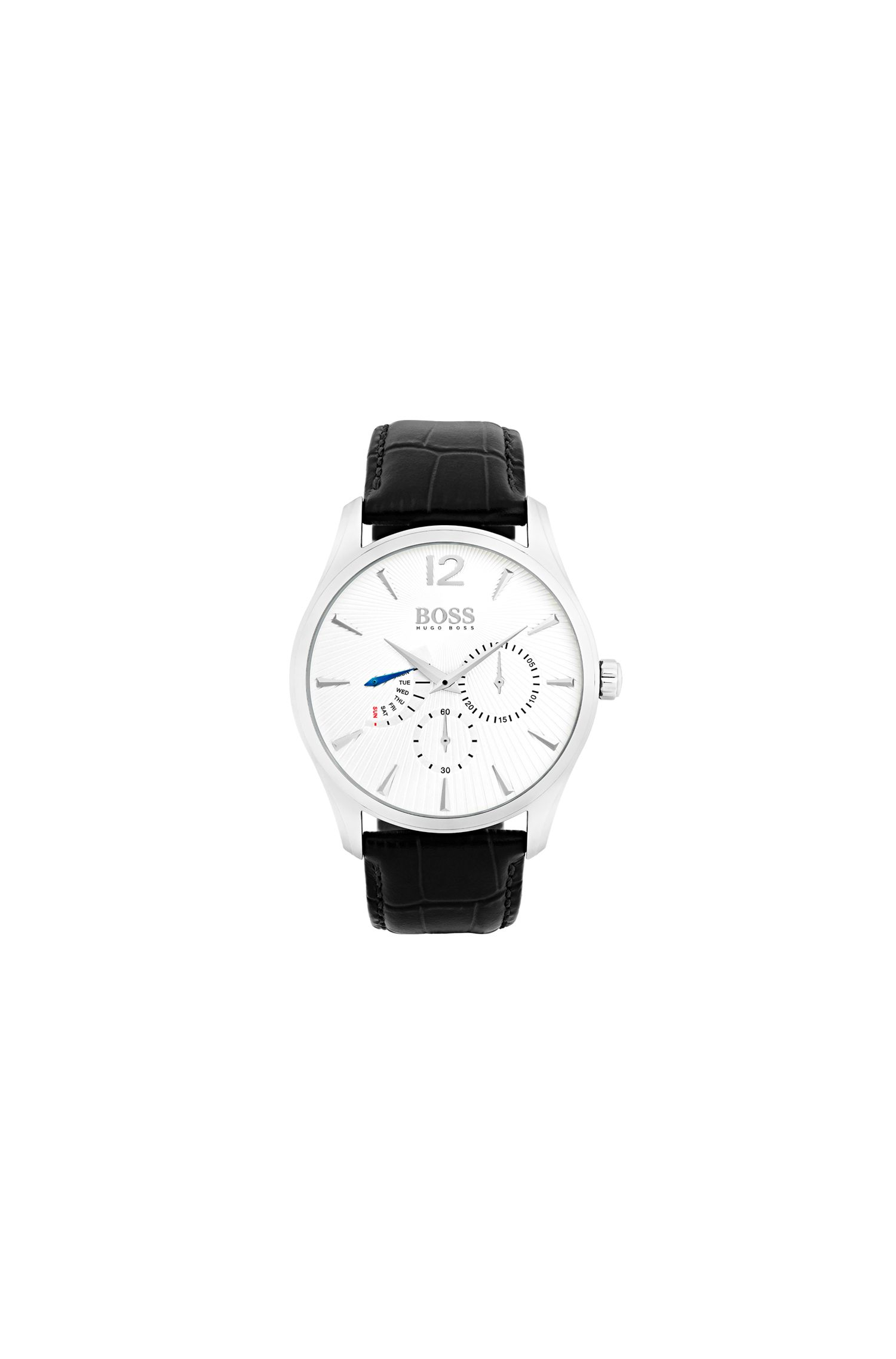 Two-hand watch in stainless steel with leather strap