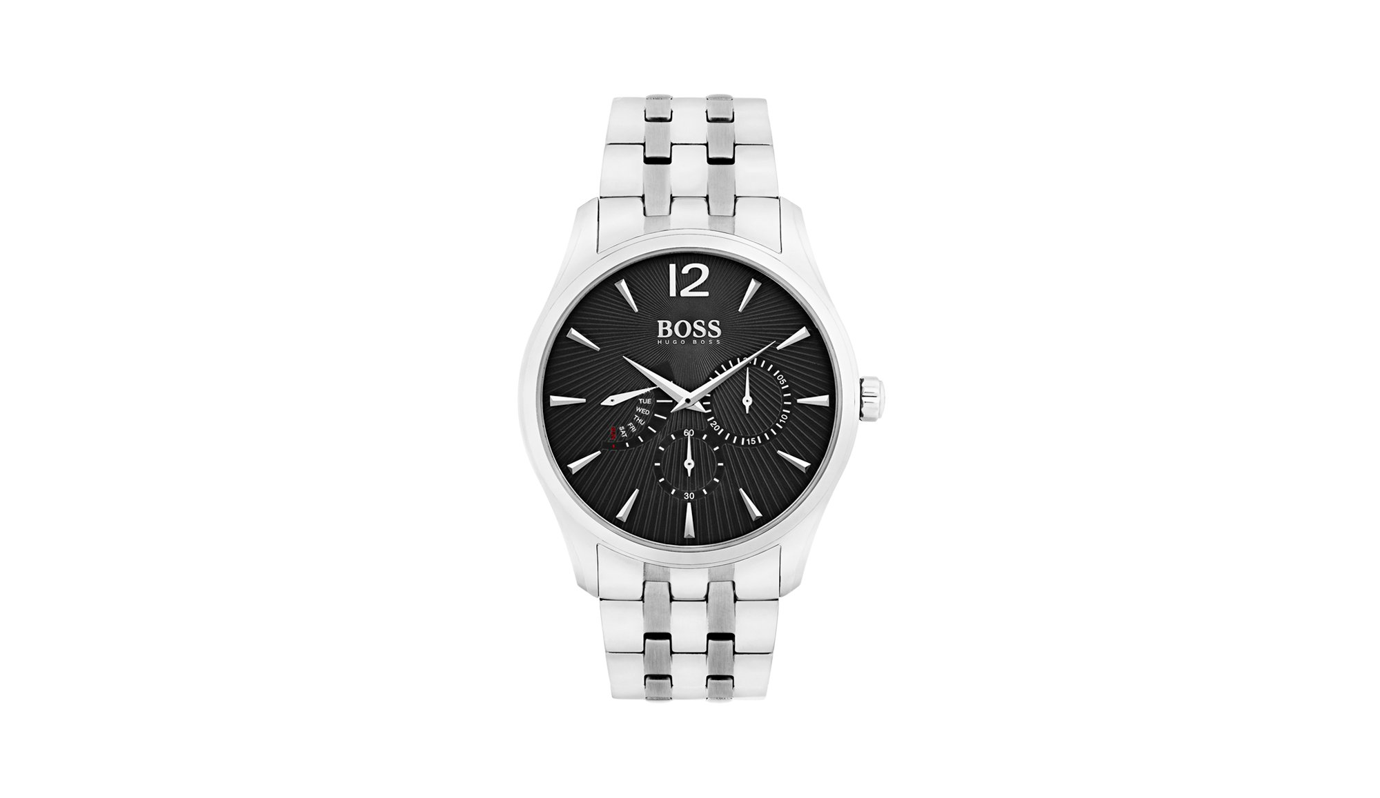 Polished stainless steel watch with textured dial, Assorted-Pre-Pack