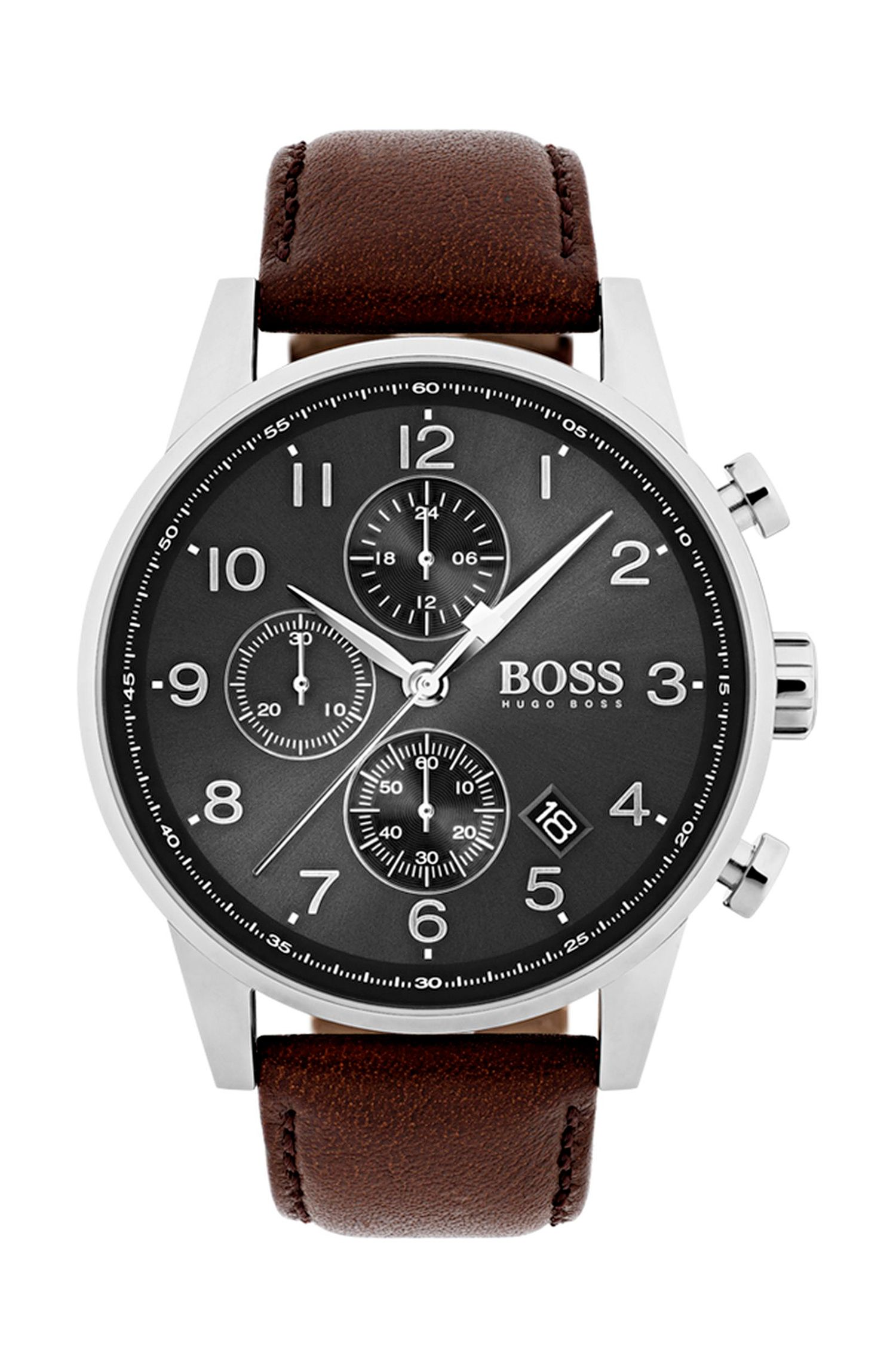 Polished stainless-steel chronograph watch with brown leather strap, Dark Brown